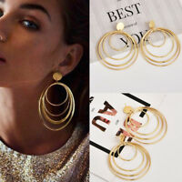 1 Pair Vintage Multi Layers Geometric Circle Ear Stud Drop Dangle Hook Earrings
