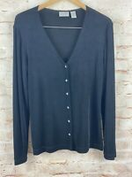 Chico's Travelers Womens Black  Button Down Top Blouse Size 1 (Medium)