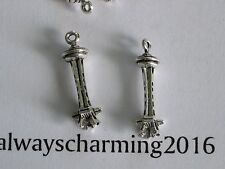 """12 -  """"SEATTLE SPACE NEEDLES"""" -  SILVER CHARMS FOR NFL SEAHAWK FOOTBALL JEWELRY"""