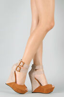 Tan Beige Brown Two Tone Faux Suede Strappy Peep Toe Ankle Strap Platform Wedge