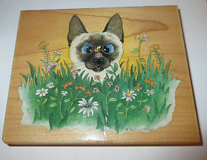 Siamese Cat Rubber Stamp Bee Wildered Flowers Large Gary Patterson Garden Rare