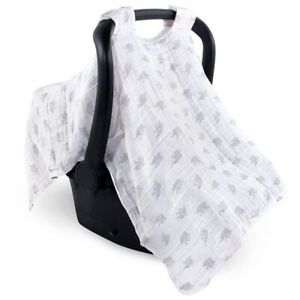 Luvable Friends Infant Muslin Car Seat Canopy Privacy Cover Gray White Elephants