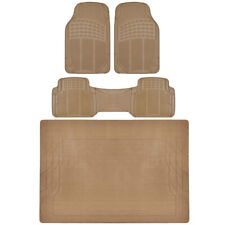 Car Floor Mats with Trunk Mat Beige 4 Piece Odorless Trunk Mat 4 Piece