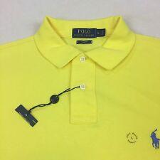 Man Polo RALPH Lauren Slim Fit 100% Cotton Yellow Polo Shirt Size L New