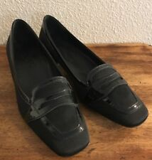 Salvatore Ferragamo 7 B Black Patent Leather Nylon Loafers Italy!