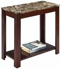 Faux Marble Top Chairside Table Sofa Side End Espresso Display Shelf Open Accent