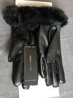 BCBGMAXAZRIA Leather Faux Fur Black Gloves Size S/M NWT.