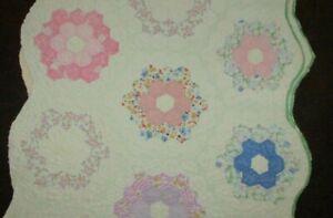 Vintage Cutter Quilt Piece ~ hand stitched ~  Primitive Crafts 16 x 21