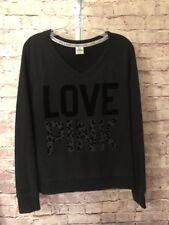 Victoria Secret Pink Sweatshirt Size SP Black /Gray EUC