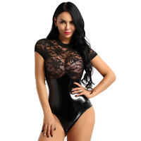 Women See Through Leotard Bodysuit Blouse T-Shirt Top Bodies Nightwear Lingerie