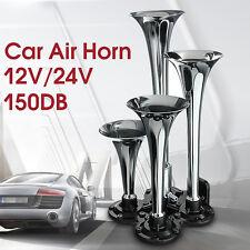 4-Trumpet Car Truck Auto Chrome Zinc Alloy Silver Train Air Horn Kit 150 DB NEW