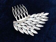 Diamante Hair Comb Slide with Diamante Feather Design Silver Tone Small size