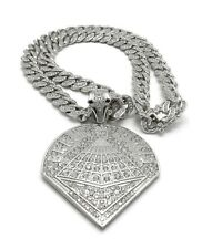 ICED BLACK PYRAMID CHRIS BROWN PENDANT SILVER CUBAN LINK CHAIN NECKLACE HIP HOP