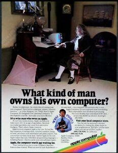 1980 Ben Benjamin Franklin photo Apple II computer vintage print ad