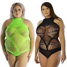 UK 6-26 Sexy Lace T-Shirt Vest Top Swimming Suit Bodysuit Neon Lime Restyle Plus