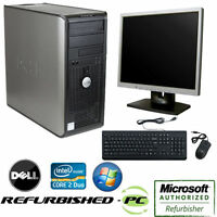CLEARANCE!! Fast Dell Desktop Tower Computer PC Core 2 Duo WINDOWS 10 +LCD+KB+MS
