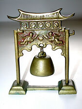 Beautiful Vintage Oriental Brass Gong Bell On Stand