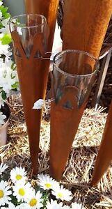 Gartenstecker Rosttüte mit Glas Windlicht
