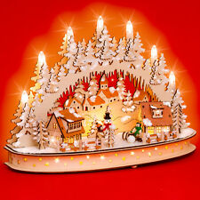 SIKORA LB66 Wooden 3D Christmas Arch Decoration LED Illumination Winter Village