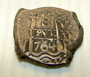 Spanish Silver 8 Real Cob----Dated 1764---Weight 27.4 Grams