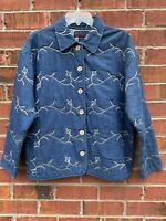 New Directions Women's Embroidered Denim Floral Shirt Size Large Blouse