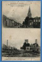 CPA: Village de Maurupt - La Place et  la Mairie avant et après le bombardement