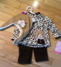 Young Hearts Leopard Fleece Jacket, Fleece Pants,Fleece Cat Hat  12M Orig $36
