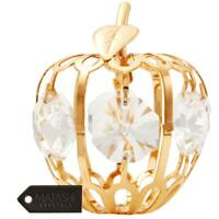 24k Gold Plated Mini Apple Ornament Made with Genuine Matashi Crystals