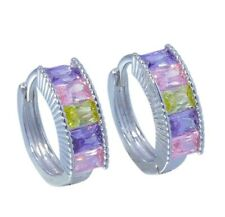 Pink Topaz Amethyst Peridot Silver for Women Jewelry Hoop Earrings 13mm