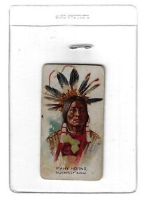 """American Indian Chiefs """"Many Horns"""" Tobacco Card"""