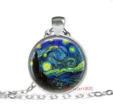 Gogh Painting Tibet silver pendant Necklace 240pcs Starry Night by Vincent Van
