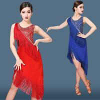 Lady Latin Dance Dress Salsa Tango Ballroom Sequins Tassel Rumba Practice Modern