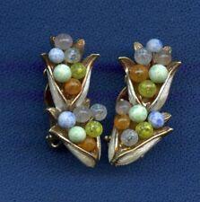 vintage Kramer Clip on Earrings Gold tone multi color