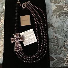 "New $250 HEIDI DAUS ""Divine Elegance"" Abergine Pearl Multi Strand Cross Necklace"