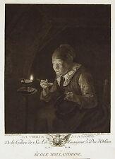 """Gerrit DOW """" La Vieille a la lampe"""" Gravure J.J.J Huber  Ed Couché 1786"""