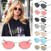 Women Small Oval Ellipse Sunglasses Vintage Eyewear Glasses Gold Metal Frame HOT