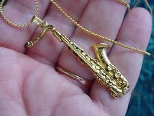 (M202-C) TENOR SAX Saxophone Pendant 24k gold plate NECKLACE jewelry chain wind