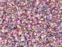 50 Guests Biodegradable Wedding Confetti Pink Ivory Rose Mix Petals Dried Flower