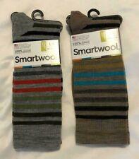 NEW 2 Pair Men's SmartWool Socks Size Large Gray Tan Stripes L