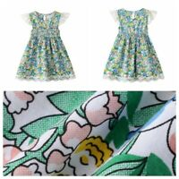 Kids Girls Princess Dress Floral Printed Summer Short Sleeve Tutu Skirts Clothes