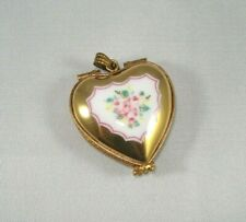 Limoges Heart-Shaped Pendant - Heavy Gold w/Pink Roses - Lovely!