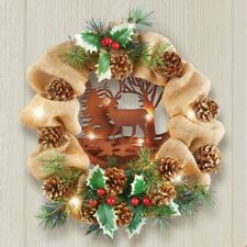 Lighted Rustic Deer Burlap Christmas Door Wreath with Holly Accents