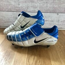 Nike Total 90 Football Boots White & Blue Very Rare Uk Size 9 Soft Ground Studs