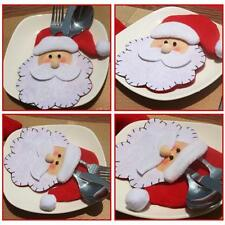 Merry Christmas Santa Claus Hat Socks Cutlery Holder Bag Dining Party Decoration