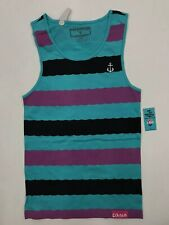 Pink Dolphin Aqua Purple Wave Stripe Embroidered Dolphin Anchor Mens XL Nice