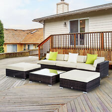 Outsunny 6 PC Rattan Sofa Coffee Table Set Sectional Wicker Weave Furniture...