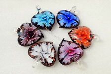 FREE Wholesale Lot 12pcs Heart Flower Lampwork Glass Pendants DIY Necklace