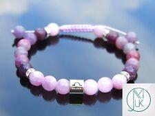 Libra Kunzite/Tourmaline Birthstone Bracelet 7-8'' Macrame Healing Stone Chakra