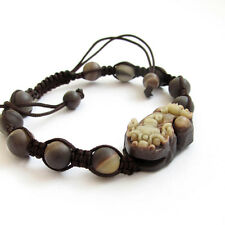 Natural Stone Lucky Pixiu Pi Xiu Tibet Buddhist Prayer Beads Mala Bracelet