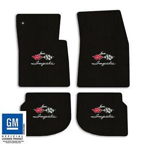 1961-1962 Chevrolet Impala - Black Classic Loop Carpet Floor Mats - Flags Logo